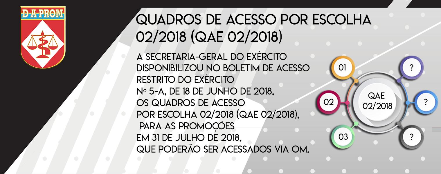 QUADROS DE ACESSO POR ESCOLHA 02/2018 (QAE 02/2018)